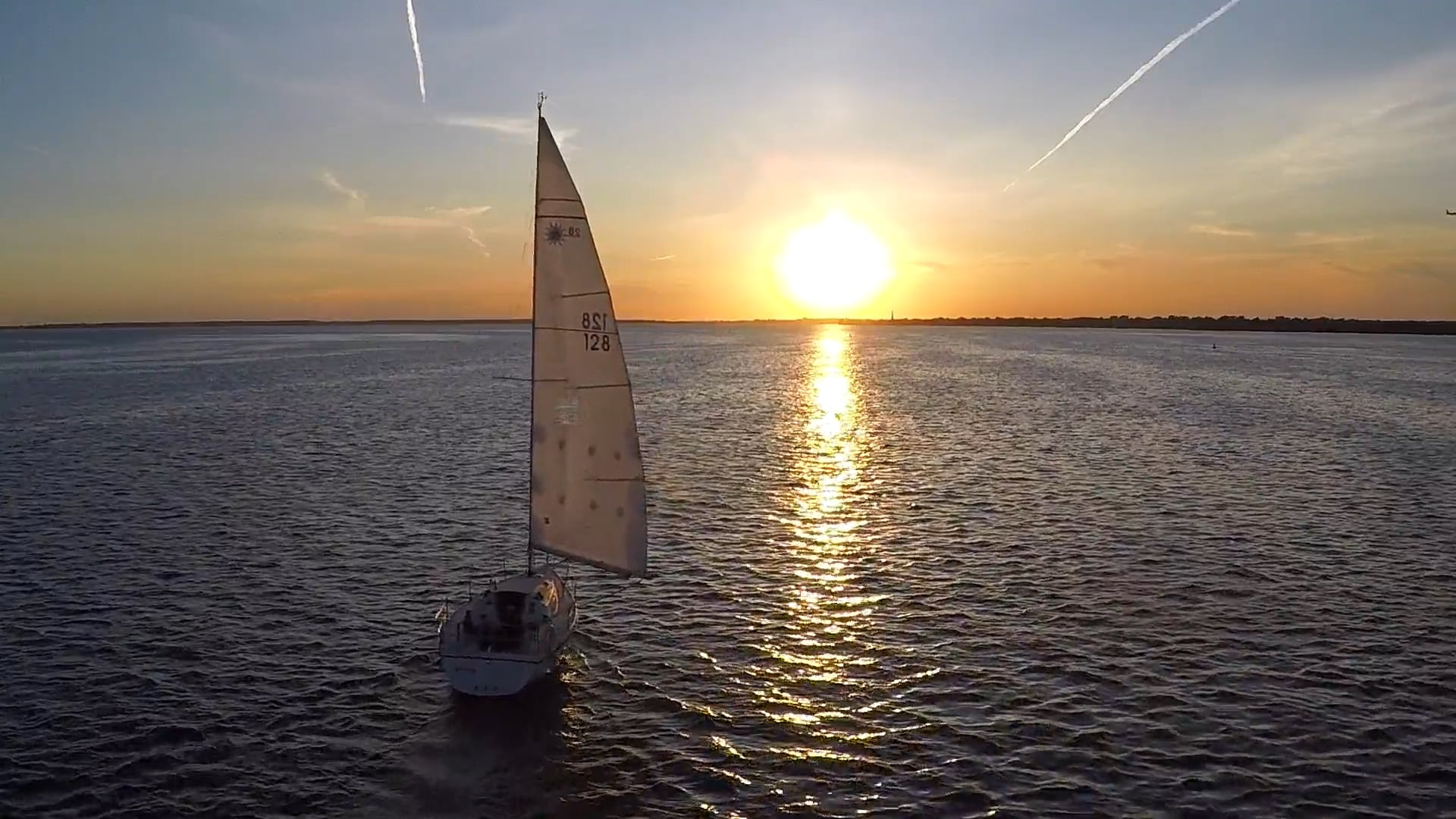 Aerial Sailboat at Sunset - Multicut