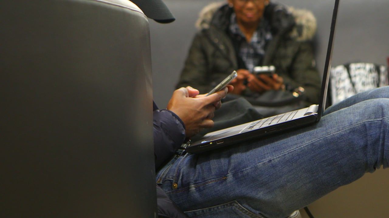 Student using his devices